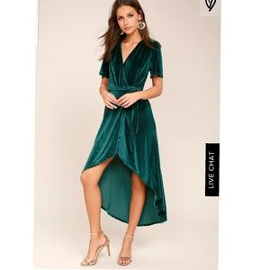 Armour teal green velvet high low wrap dress